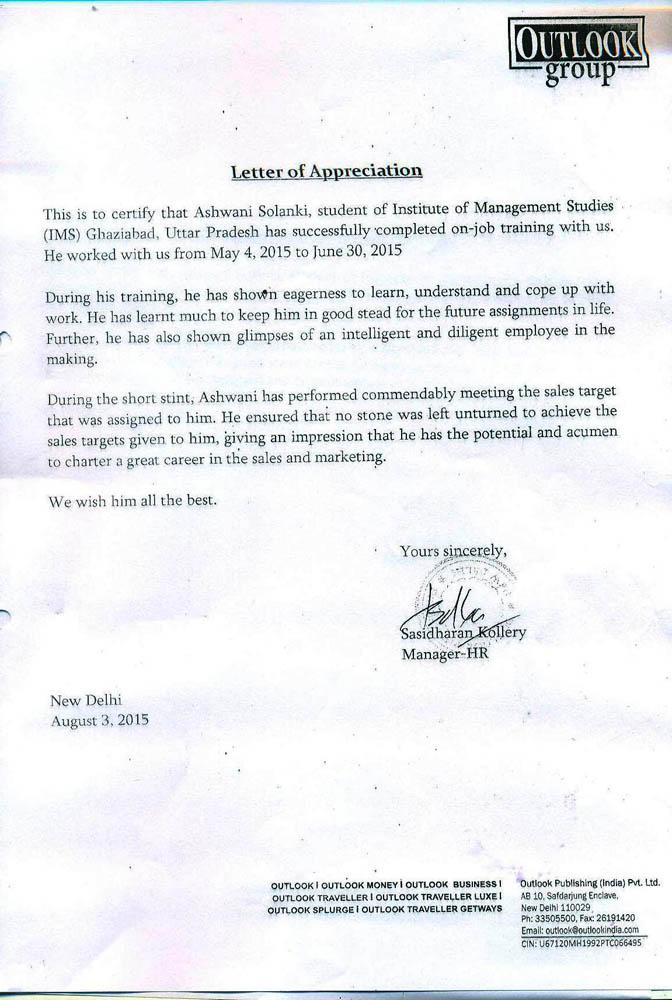 Letter Of Appreciation Pgdm 2014 16